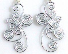 Spiral Waves Dangle Earrings by melissawoods on Etsy