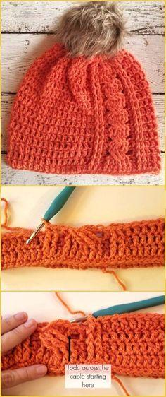 Repeat Crochet Me: Crochet Cabled Beanie Hat Free Pattern #CrochetBeanie