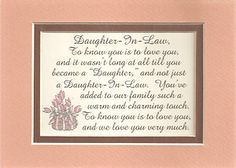 Quotes+About+Daughters+In+Law | Charm Daughters in Law Family Love Verses Poems Plaques | eBay