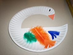 modify this mother goose craft into a duck.  maybe add dessert plate as wing.