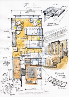 hotel arquitectura Four Seasons Hong Kong Text amp; Sketch by Ura Kazuya Architecture Concept Drawings, Architecture Plan, Architecture Details, Interior Architecture, Plan Hotel, Hotel Floor Plan, Floor Plan Sketch, Floor Plan Drawing, Architectural Floor Plans