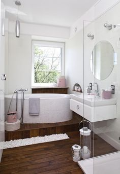 Home little-bad-set-ideas-white-pink-accents-wood-floor-glass-small-bathroom | Home Office Design