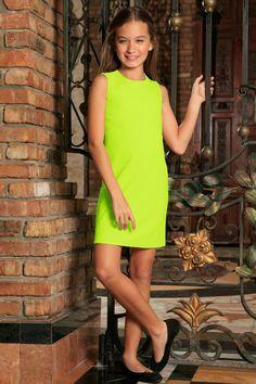 Neon Yellow Stretchy Sleeveless Stylish Summer Shift Dress - Girls