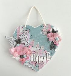 This wall hanging has already found a new home!Made this one for a dear friend of mine.I used the Vintage Summer Basics collection. I started this project with a blue background and distressed the edg Wood Crafts, Diy And Crafts, Arts And Crafts, Paper Crafts, Valentine Crafts, Valentines, Shabby Chic Crafts, Heart Crafts, Heart Decorations