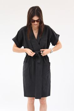 50% Silk, 50% Linen. Kimono inspired wrap collar, cuffed sleeves, deep pockets and gentle elastic waist. Comes with self tie waist belt. Hand wash cold. Made in Australia.