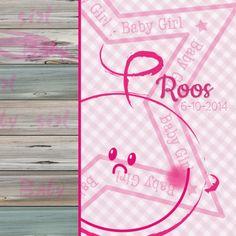 Geboortekaartje GIRL ruit hout  - Geboortekaartjes - Kaartje2go