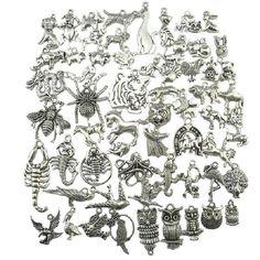 18275 Mixed 60pcs Vintage Silver Spider Bird Owl Horse Eagle Tiger Peacock Partridge Dragon Dog Pig Zodiac Pendant Free shipping