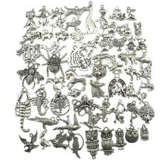 18275 Mixed 60pcs Vintage Silver Spider Bird Owl Horse Eagle Tiger Peacock Partridge Dragon Dog Pig Zodiac Pendant Free shipping