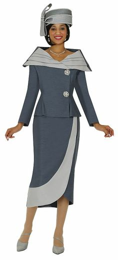 Two piece two tone shawl collar women's church suit with rhinestone buttons on asymmetric closing Church Suits And Hats, Women Church Suits, Church Attire, Church Dresses, Church Hats, Church Outfits, Suits For Women, Dresses For Work, Sunday Dress