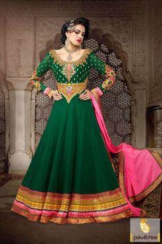 Pavitraa #Green and #Pink Floor Length #Bridal Salwar Suits