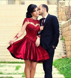 Beautiful Red lace prom dress, long sleeve prom