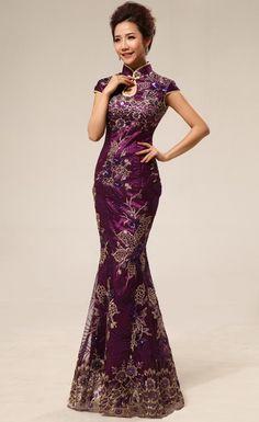 Burgundy Brocade Lace & Sequins Appliques Traditional Chinese Cheongsam Dress - iDreamMart.com