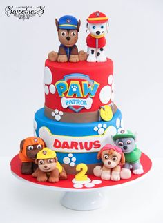 Inspiration Photo of Paw Patrol Birthday Cake Ideas - Kinderparty-Rezepte - kuchen kindergeburtstag Paw Patrol Birthday Cake, 3rd Birthday Cakes, Happy 2nd Birthday, Card Birthday, Birthday Greetings, Birthday Ideas, Bolo Do Paw Patrol, Paw Patrol Torte, Paw Patrol Cupcakes