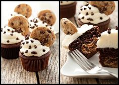Red Velvet Chocolate Chip Cookie Dough Cupcakes