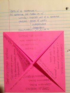 Grammar foldable that holds notes about the characteristics of the four sentence types. We add this to the Toolbox section of our notebooks.