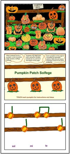 Pumpkin Patch Solfege SMARTBoard activity. Pumpkins linked to pumpkin notation can be used for a solfege moment during October music classes.