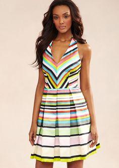 TAYLOR Stripe Halter Dress
