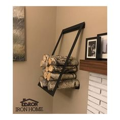 Steel Floating Log Rack Wall Mounted Firewood Holder
