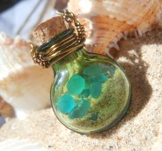 Glass Vial Necklace Glass Bottle Necklace Lake Michigan Beach Sand and . Bead Bottle, Bottle Jewelry, Bottle Charms, Bottle Art, Sea Glass Jewelry, Diy Jewelry Projects, Jewelry Crafts, Vial Necklace, Necklaces