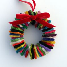 Rescued Wool Wreath Ornament - Multi with Red Velvet Ribbon - recycled wool wreath by alicia todd. via Etsy:   aliciatodd
