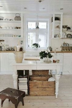 25 Best Farmhouse Kitchen Island with Open Shelves Furniture - Daily Home List Cottage Kitchens, Home Kitchens, Cottage Farmhouse, Farmhouse Decor, White Cottage, Cottage Style, Farmhouse Style, Rustic Kitchens, Fresh Farmhouse