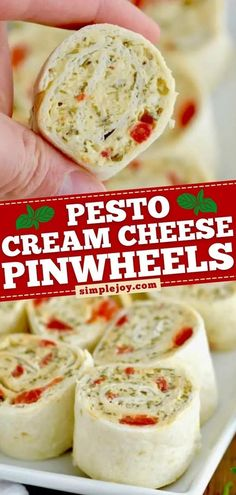 Here's another finger food for your 4th of July appetizer table! Guests are going to love this party food with the perfect pesto and cream cheese flavor. You might want to double this easy tortilla… Cream Cheese Pinwheels, Tortilla Pinwheels, Yummy Appetizers, Appetizer Recipes, Dessert Recipes, Great Recipes, Favorite Recipes, Yummy Recipes, Bacon Cheese Dips