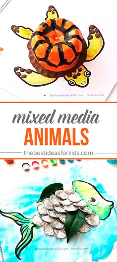 Turtle Bottle and Fish Tin Foil crafts. These are so fun to make! Mixed media art craft where you use your creativity to finish the picture Kids crafts | Kids activities | Watercolor crafts | Bottle crafts | Tin foil crafts | Fish crafts | Turtle crafts | Animal crafts | Toddler Crafts | Preschooler crafts