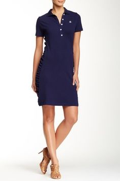 Side Shirred Collared Dress