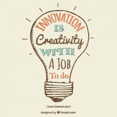 a inovação é a criatividade com um trabalho a fazer-tradução