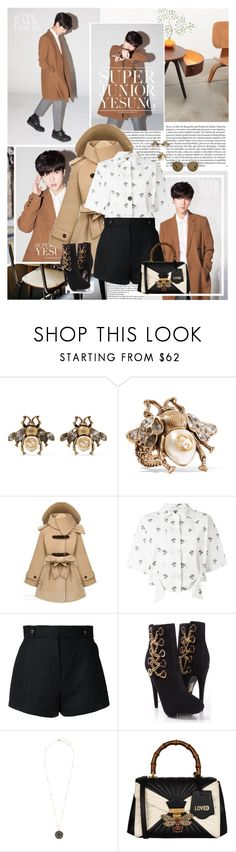 """""""May our idyll always last at night"""" by karydkaulitz ❤ liked on Polyvore featuring Coffee Shop, Whiteley, Gucci, Victoria Beckham, Courrèges, kpop, superjunior and Yeusng"""