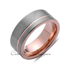 8 mm, Gun Metal, Brushed Grey Tungsten, with, Rose Gold, Rose Gold Groove, New,Unique,Wedding Band,Anniversary,New Ring,Mens,Rings