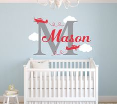 Airplane Name Wall Decal - Nursery Wall Decal - Personalized Name Decal Airplanes - Boy Name & Airplane Wall Decal Personalized Airplane Name Decal Airplane ...