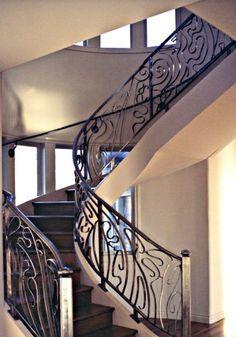 Art Nouveau Customs Metal Sculpted Staircase Railings