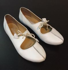 Clarks Originals White Tie Flats with Heart by burntbootvintage