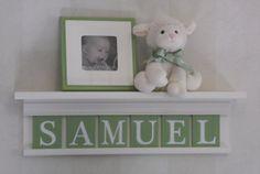 "Green Sign Personalized Children Nursery Decor 24"" Linen White Shelf 6 Wooden Wall Letters - SAMUEL"