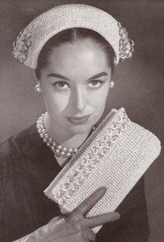 Vintage 1950's Evening Hat & Clutch Crochet Patterns (i had no idea soda tabs were reused that far back!)