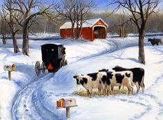 Linda Picken Art Studio / Amish Cows Red Barn.jpg  So pretty!!