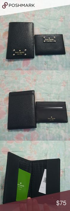 Kate Spade Wellesley Passport and Card Holder New never used Kate Spade passport holder and card holder.  Both in black leather with gold details and black fabric linning. Passport holder fits US passport inside and has a pouch outside that would fit a boarding pass on the outside. Card holder has three card slots and a pouch on top to fit more cards. Both items come with their care cards and tag. Perfect for your next summer vacation. kate spade Accessories Key & Card Holders