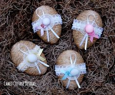 Cameo Cottage Designs: Rustic and Frilly Twine Easter Eggs