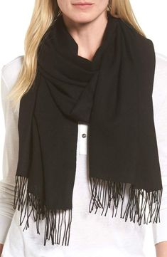 05c5e8d6a399 Women's Nordstrom Tissue Weight Wool & Cashmere Scarf, Size One Size - Black