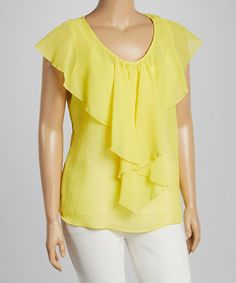 Loving this Yellow Chiffon Flutter-Sleeve Top - Plus on #zulily! #zulilyfinds