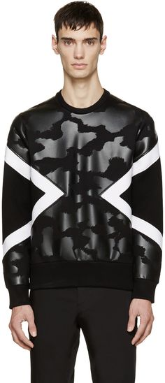 Neil Barrett Black Neoprene Modernist Pullover