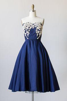Vintage 1950s royal blue silk laced bodice party dress