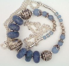 blue denim necklace