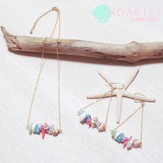 hp_p65 天然石&天然シェルデザインの14KGFピアス Mauloa #beach #sea #ocean #shell #coral #ピアス #ネックレス #earrings #necklace