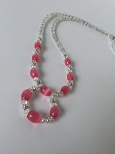Circle Iridescent Pink and Clear Beaded Necklace