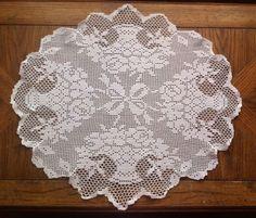 "Antique Vintage 23"" Oval Filet Crochet White Doily Topper Ribbons Flower Baskets"