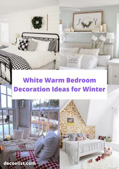 White Warm Bedroom Decoration Ideas for Winter, Ivory Bedroom, White Bedroom Design, All White Bedroom, Warm Bedroom, White Bedding, One Bedroom, Bedroom Themes, Bedroom Colors, Winter Bedroom Decor