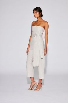 6ea8de242ed15 PRE ORDER   Delivery from March 5th - Strapless jumpsuit in textured ecru  linen with cropped
