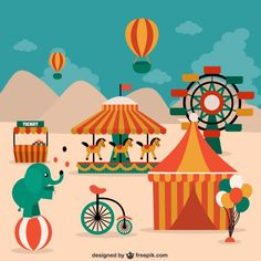 Circus Elements, Animals and Decorations Free Vector Adobe Illustrator, Circus Illustration, Carnival Posters, Ticket Design, Country Fair, Amusement Park, Free Vector Art, Farm Animals, Creative Inspiration